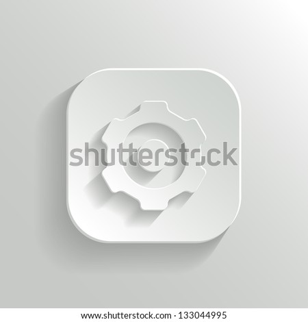 Gear icon - vector white app button