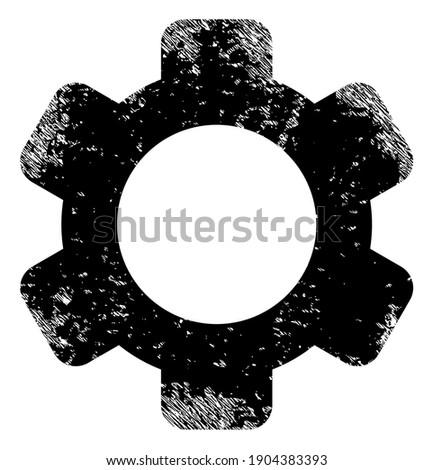 Gear icon with grunge effect. Isolated vector gear icon image with unclean rubber texture on a white background. Stockfoto ©