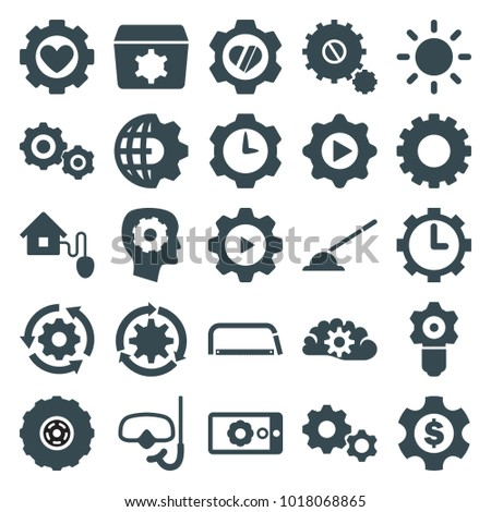 Gear icons. set of 25 editable filled gear icons such as contrast, smart home, snorkel, hacksaw