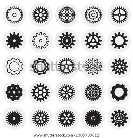 Gear icons set on circles background for graphic and web design, Modern simple vector sign. Internet concept. Trendy symbol for website design web button or mobile app