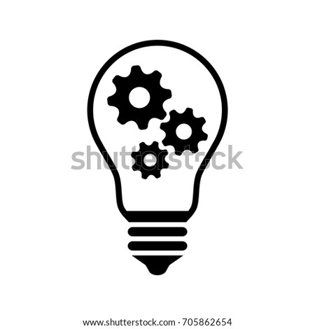 Gear in lightbulb on white background