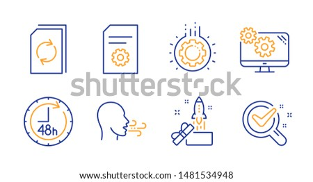 Gear, Innovation and Update document line icons set. Breathing exercise, File settings and Settings signs. 48 hours, Chemistry lab symbols. Work process, Crowdfunding. Technology set. Vector