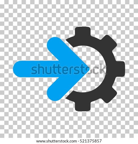 Gear Integration icon. Vector pictograph style is a flat bicolor symbol, blue and gray colors, chess transparent background. Designed for software and web interface toolbars and menus. Stock photo ©