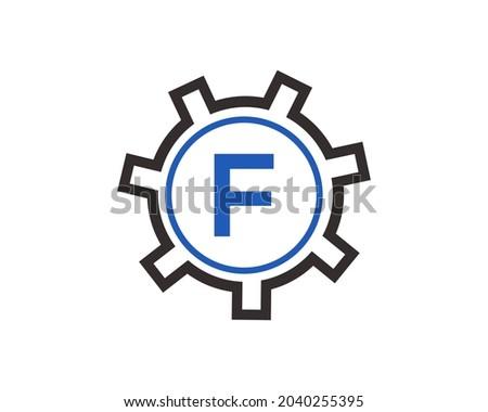 Gear Logo on letter F. Initial F Gear Letter Logo Design Template. F Gear Engineer Logo Foto stock ©