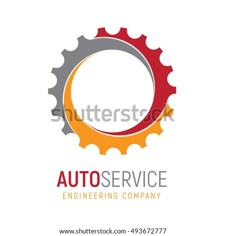Gear logo template. Logotype for heavy industry, auto parts store, workshop or repair service. Concept icon for engineering company. Simple style vector clip art.