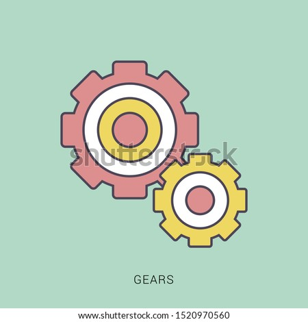 Gear Logo Template vector icon illustration design. solid color with outline concept.