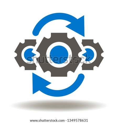 Gear mechanism arrows round processing icon vector. Operations logo. Operation process.