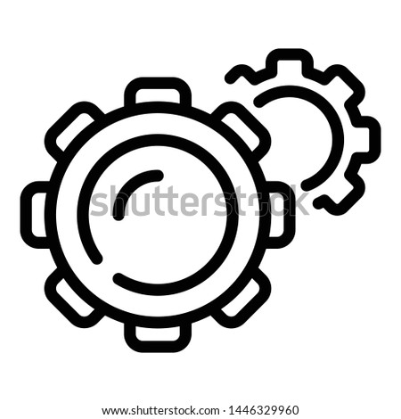 Gear mechanism icon. Outline gear mechanism vector icon for web design isolated on white background