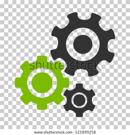 Gear Mechanism icon. Vector pictograph style is a flat bicolor symbol, eco green and gray colors, chess transparent background. Designed for software and web interface toolbars and menus.