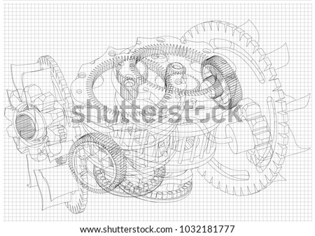 gear mechanism on white background, vector image