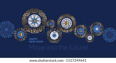 Gear movement idea snowflakes header composition. Luxury marine blue elegant winter snow flakes for card, header, invitation, poster, social. Christmas abstract baubles elegant geometric header.