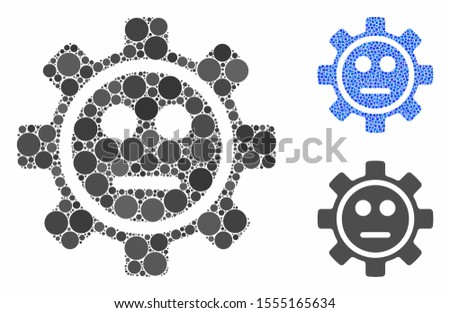 Gear neutral smiley composition of round dots in different sizes and color tinges, based on gear neutral smiley icon. Vector dots are composed into blue composition.