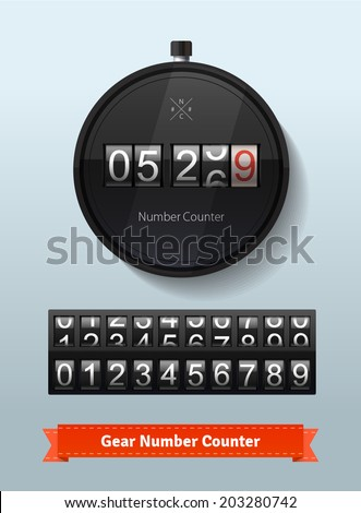 Gear number counter template with all digits. Stopwatch concept with imaginative NC (NumCount) logo. Highly editable EPS10 vector interface elements.