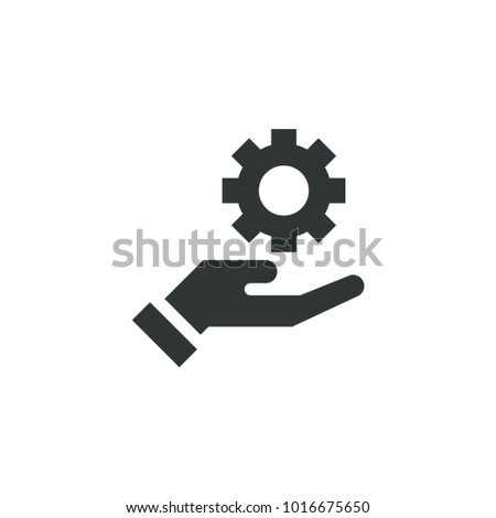 Gear on hand icon simple business sign vector illustration