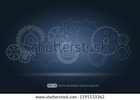 Gear or cog icon.Gears vector set. Eps 10 vector file.- Technology concept.