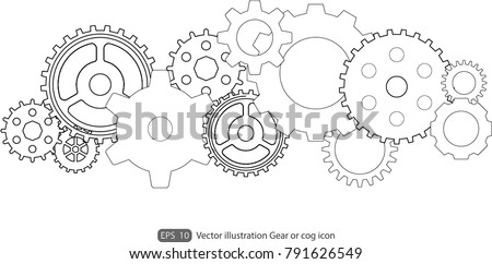 Gear or cog icon on a white background.Gears vector set. Eps 10 vector file.- Technology concept.