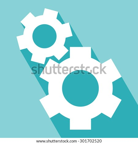 Gear or cog icons. Cog icons in flat style. Vector illustration. Elements for design. Cog icons on orange background. Cog Icons with Long Shadow. All in a single layer.