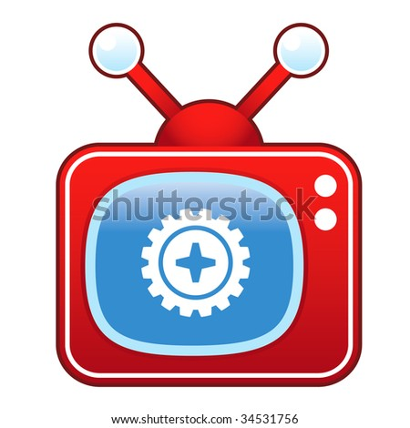 Gear or settings icon on retro television set