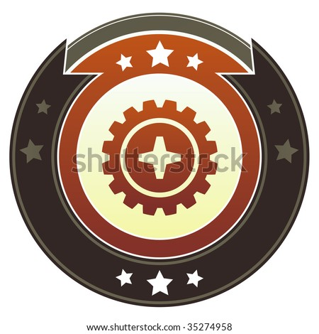 Gear or settings icon on round red and brown imperial vector button with star accents suitable for use on website, in print and promotional materials, and for advertising.