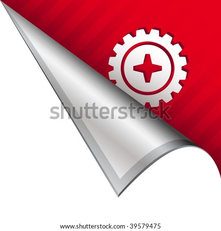 Gear or settings icon on vector peeled corner tab suitable for use in print, on websites, or in advertising materials.