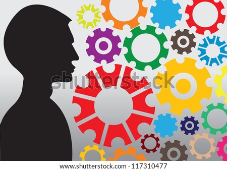 Gear pattern background in different colors and sizes with a person. Vector illustration.