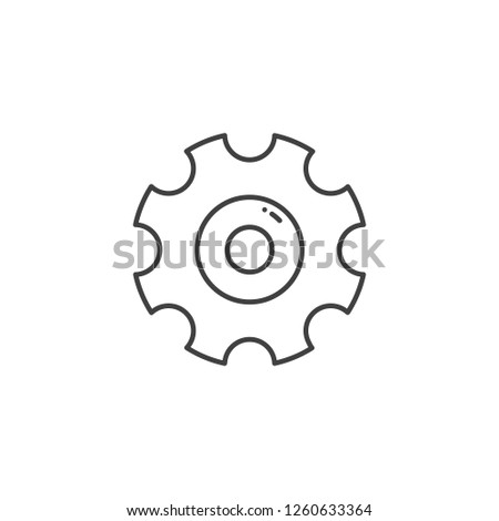 Gear Related Vector Line Icon. Isolated on White Background. Editable Stroke.