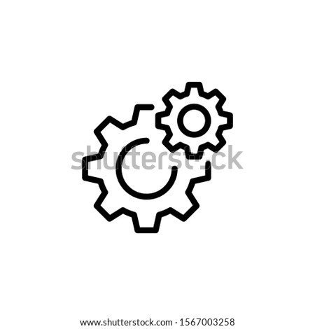 Gear settings icon in line art style on white background, linear style sign for mobile concept and web design, Cogwheel, preferences outline vector icon, Symbol, logo illustration