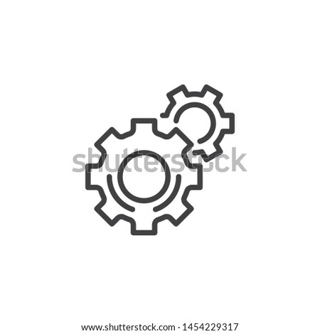Gear, settings line icon. linear style sign for mobile concept and web design. Cogwheel, preferences outline vector icon. Symbol, logo illustration. Vector graphics