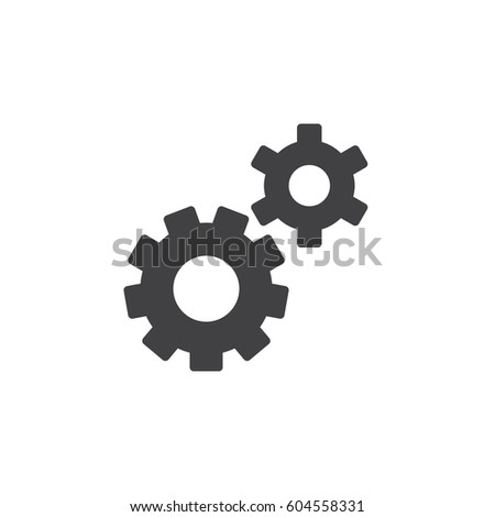 Gear, settings, preferences icon vector, filled flat sign, solid pictogram isolated on white. Symbol, logo illustration. Pixel perfect