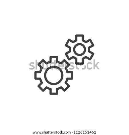 Gear, settings, preferences outline icon. linear style sign for mobile concept and web design. Cog wheels simple line vector icon. Symbol, logo illustration. Pixel perfect vector graphics