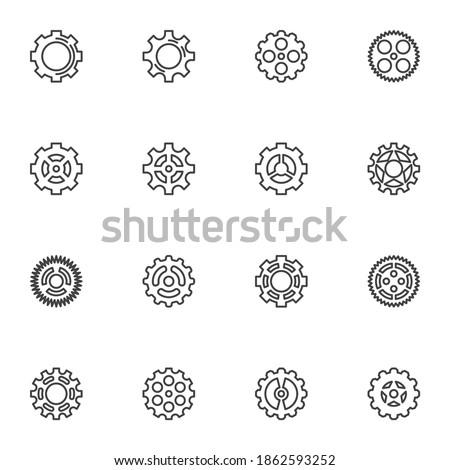gear shapes line icons set