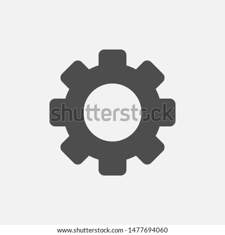 Gear simple vector icon isolated on white background