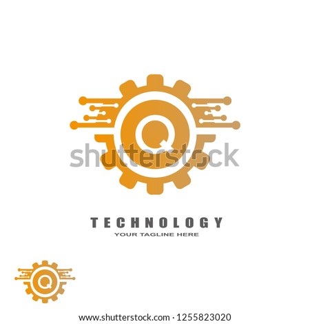 Gear technology logo, industrial emblem,sign,symbol,vector logos for business corporate, team work,factory icon, connection, mechanical engineering, machine, illustration element, Q,