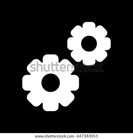 Gear vector icon. Black and white two gears illustration. Solid linear icon.