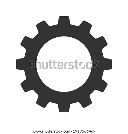 Gear vector icon isolated on white background. Symbol of setting in flat design. Cogwheel tool or button for web application or UI. Technical concept. Mechanism repair. 商業照片 ©