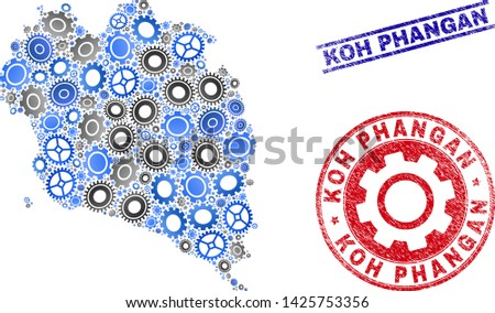 Gear vector Koh Phangan map mosaic and stamps. Abstract Koh Phangan map is designed of gradiented randomized cogwheels. Engineering geographic plan in gray and blue colors,