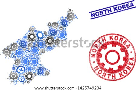 Gear vector North Korea map composition and stamps. Abstract North Korea map is created of gradient randomized cogwheels. Engineering territorial plan in gray and blue colors,