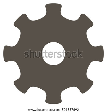 Gear vector pictogram. Style is flat graphic symbol, grey color, white background.