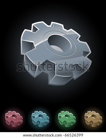 Gear wheel vector symbol set. Elements are layered separately in vector file.