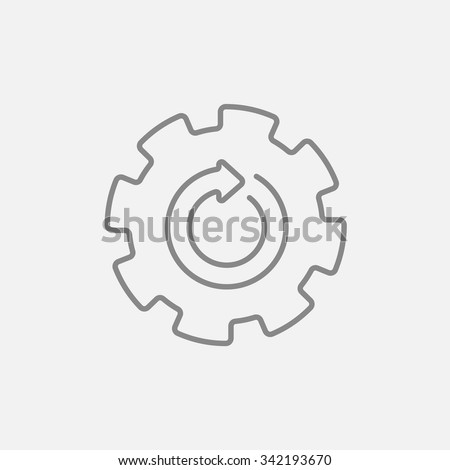 Gear wheel with arrow line icon for web, mobile and infographics. Vector dark grey icon isolated on light grey background.