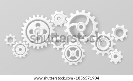 Gear wheels. Realistic 3d white cogs and gears mechanism. Teamwork cooperation machine symbolism. Engineering and technology vector. Cooperation and connection, technical equipment