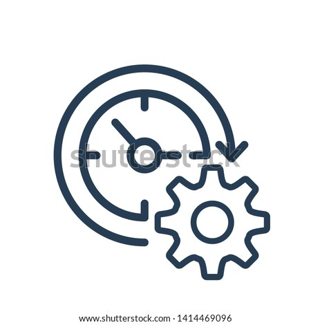 Gear with clock reprocessing sign line icon. Update, cycle, arrow. Processing, renewal concept.  Foto stock ©