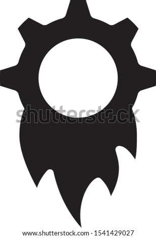 Gear with fire symbolising Productivity icon, vector illustration