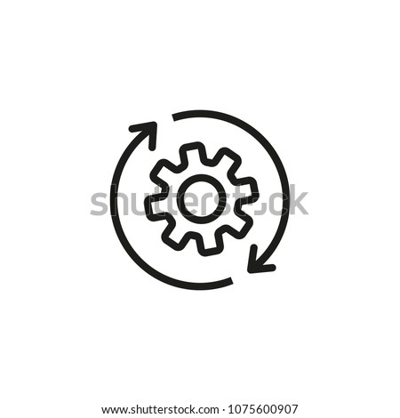 Gear with reprocessing sign line icon. Update, cycle, arrow. Processing concept. Can be used for topics like refresh, recycling, reload