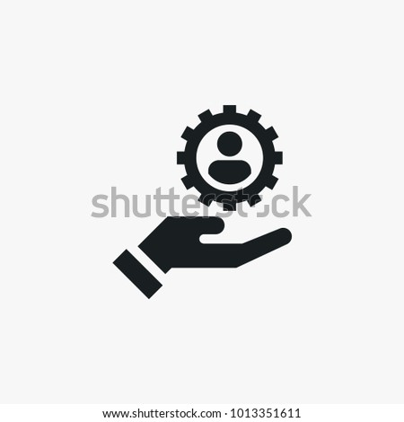 Gear with user on hand icon. Simple HR element illustration. Work symbol design from business collection. Can be used in web and mobile.
