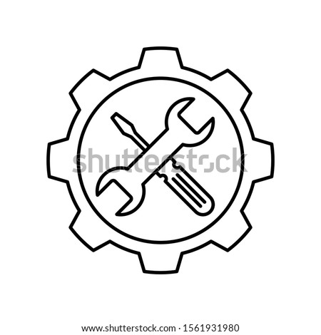 Gear with Wrench and screwdriver icon. Outline thin line flat illustration. Isolated on white background.  Stockfoto ©