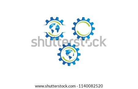 gear world rotation logo icon vector