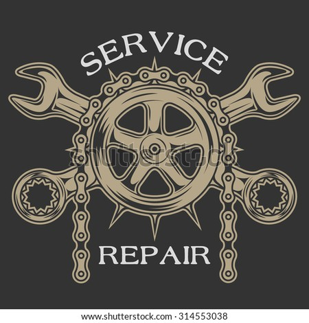 gear wrenches and chain. emblem ...