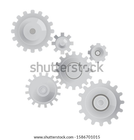 gears.a set of gears of different sizes.icon isolated on white.vector image
