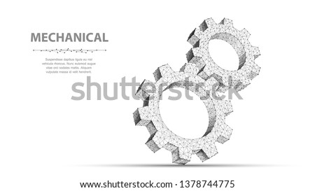 Gears. Abstract 3d vector wireframe two gear. 3d illustration isolated on white. Mechanical technology machine, Industry development, engine work, business solution, team work concept, background